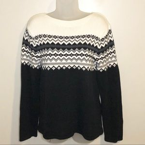 Eddie Bauer fair isle cotton sweater